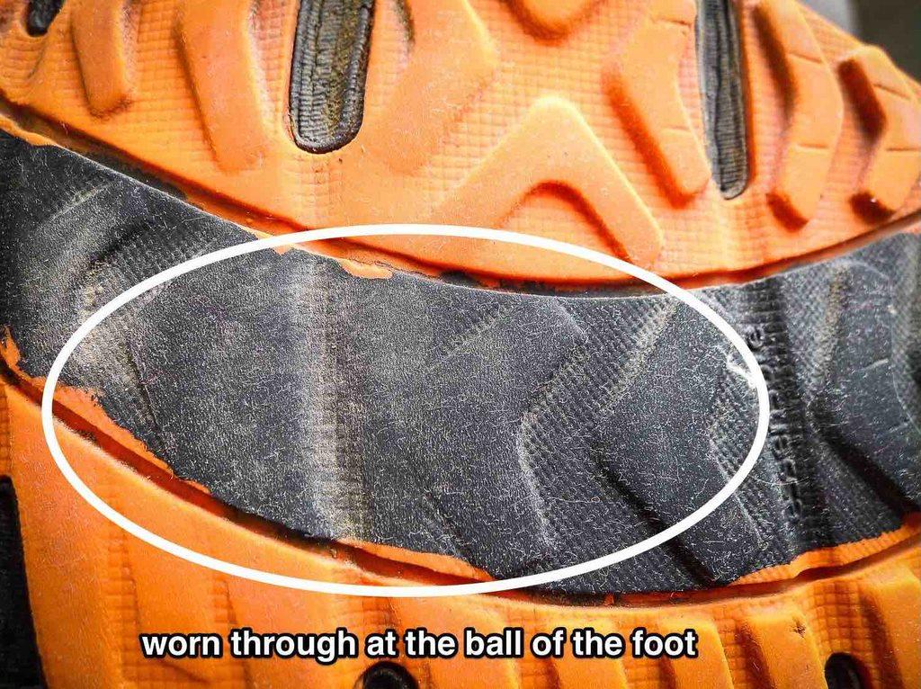 Worn at balls of feet